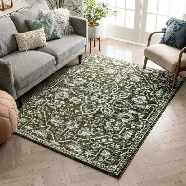 Well Woven Dazzle Disa Green Vintage Distressed Medallion Oriental 7 Ft 3 In X 9 Ft 3 In Area Rug Dz 05 6 The Home Depot