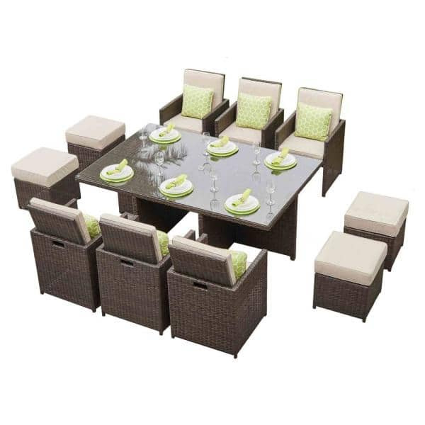 Direct Wicker Alisa Aluminum Brown 11 Piece Wicker Outdoor Dining Set With Beige Cushions And Ottmans Pad 3234 A The Home Depot