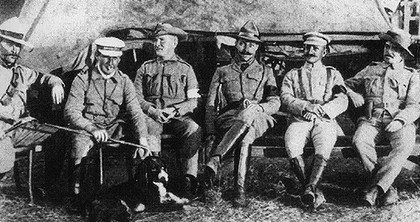 From left: Peter Handcock and Harry 'Breaker' Morant just prior to their deaths, and surgeon Johnson, Frederick Hunt and Englishmen Alfred Taylor and Henry Picton.