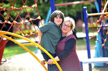 Dante Hickey-Sorbello, 7,  with his mother Angela Hickey.