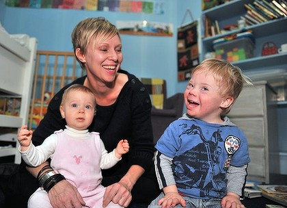 Abigail Elliott and her three-year-old son Willem and daughter daughter Imogen.