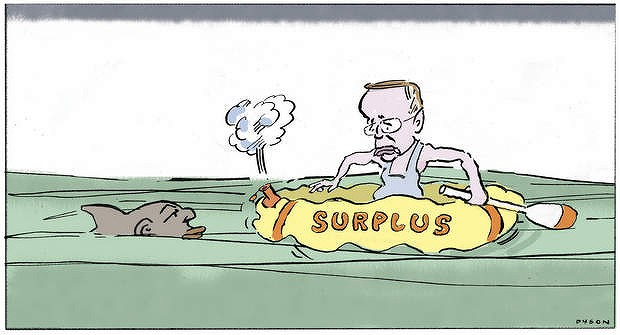 Andrew Dyson illustration - Surplus, for News. The Age. 20 December, 2012. Showing Wayne swan in a life raft named
