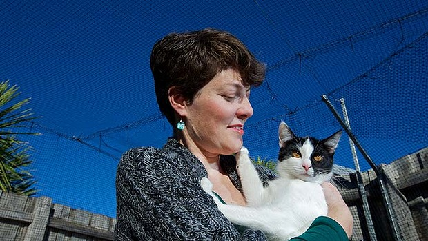 Kathleen is the campaigner for 'Save Darebin Pets' pictured here with rescue cat Mindy.