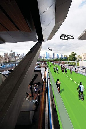 A digital image by Angelica Rojas Gracia prepared for the Visions and Pathways 200 project. It shows a bicycle highway built above train lines at North Melbourne station.