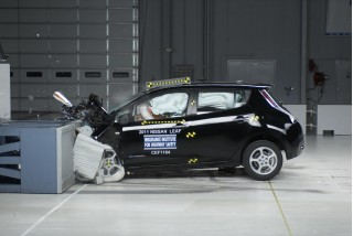 2011 Nissan Leaf electric car during IIHS crash testing