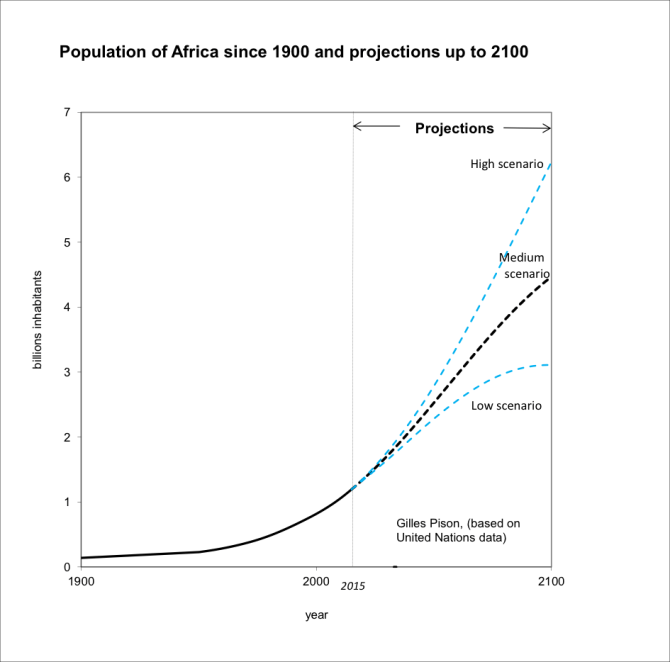 Population of Africa since 1900 and projections up to 2100. Credit: Gilles Pison (Based on UN data)
