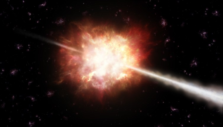 Illustration of a gamma ray burst in space. ESO/A. Roquette, CC BY-SA