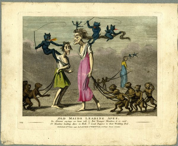 A 1797 print depicts three 'old maids' leading strings of apes in hell.© Trustees of the British Museum, CC BY-NC-SA