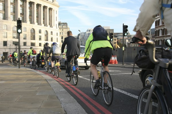 Commuters cycling to work.