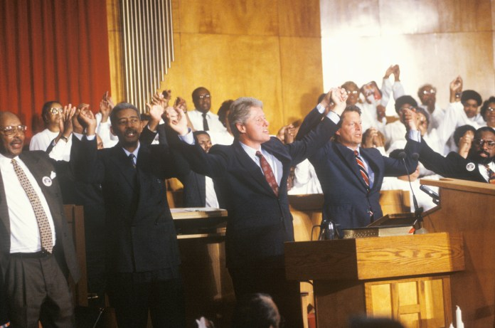 Bill Clinton and Al Gore at a Black Church service during the 1992 presidential campaign.