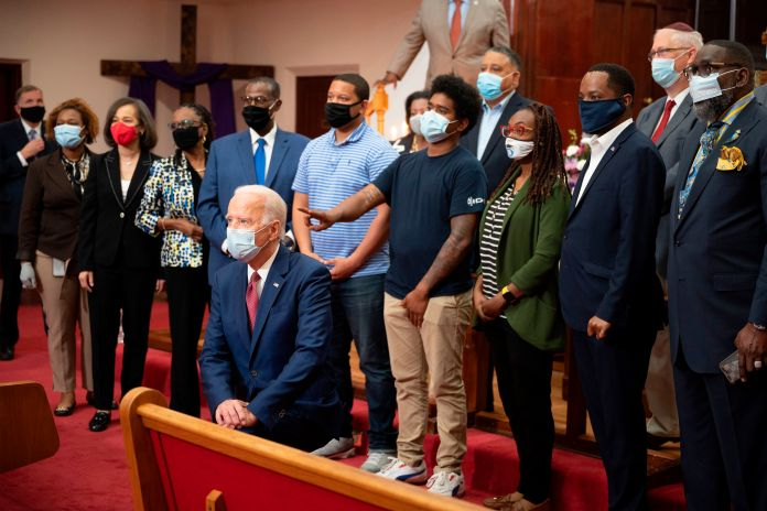Joe Biden with a group of people at the  Bethel AME Church in Wilmington, Delaware.