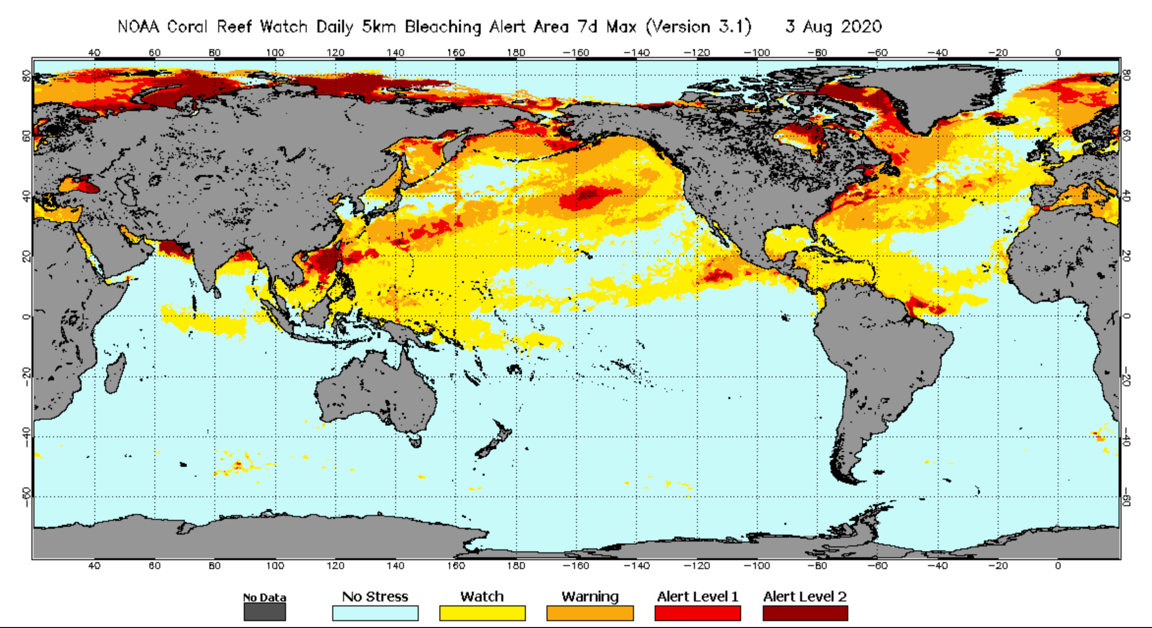 Map of global sea surface temperatures, color coded to show bleaching risks.