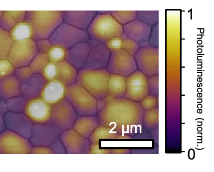 A New Solar and Lighting technology Light emitted from mosaic grains in a perovskite film
