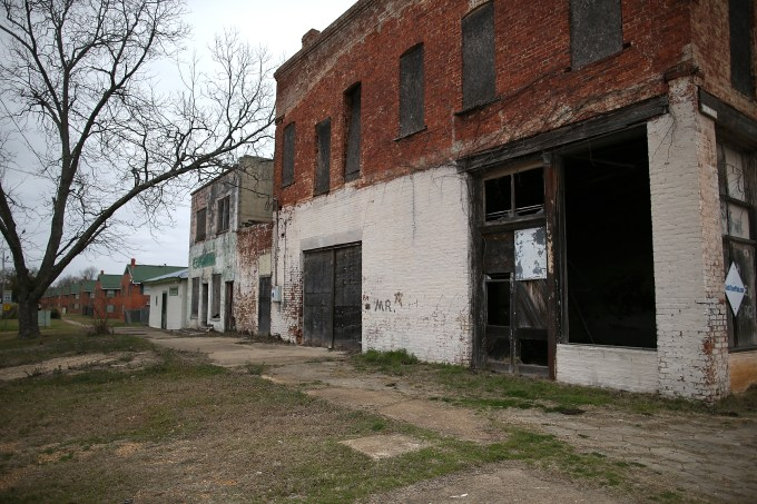 Boarded up buildings in Selma, Alabama.
