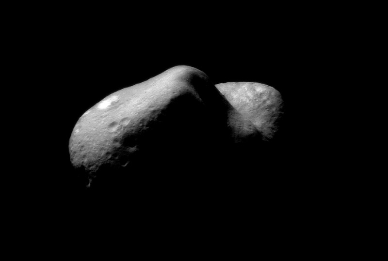 Black and white photo of an asteroid.