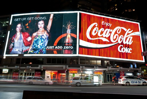 A huge coca cola advertising billboard