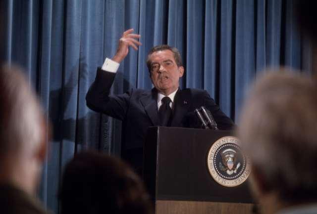President Richard Nixon at a press conference, Washington DC