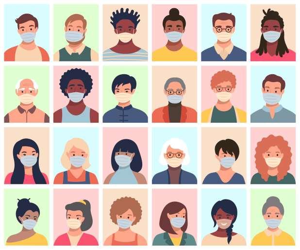 رسم للعديد من الوجوه من العديد من المجموعات الديموغرافية المختلفة.