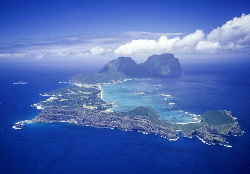 Une vue aérienne de l'île Lord Howe
