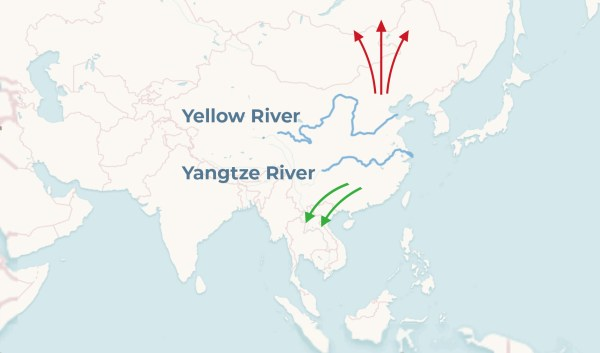 map showing migration of ancient people north from Yellow River area and south from Yangtze River area