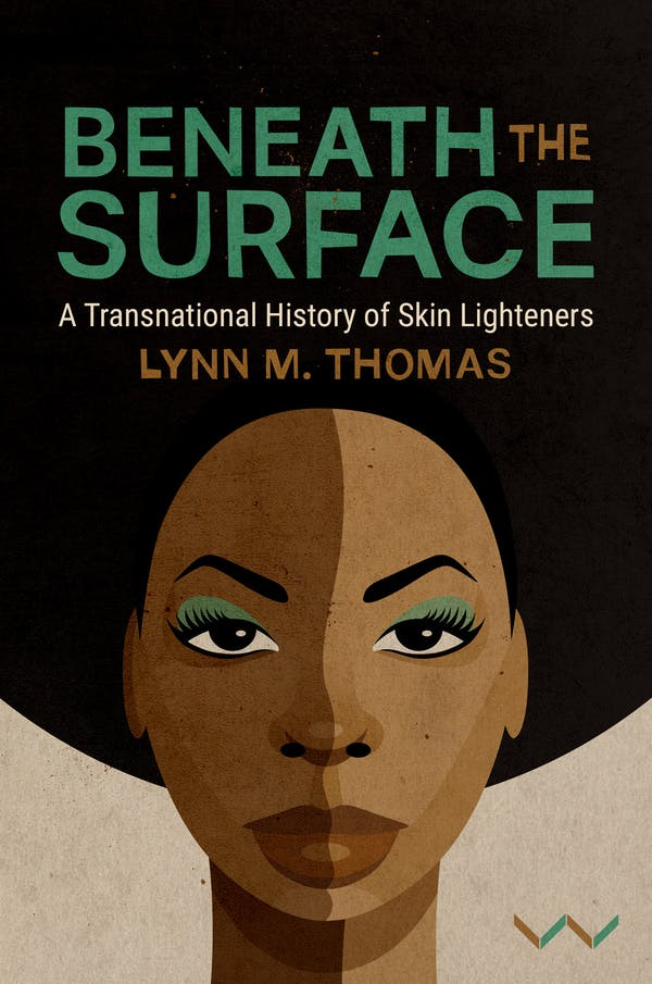 Book cover with words 'Beneath the Surface' and an illustration of a woman with an Afro hairstyle, a shadow across her face dividing it into dark brown skin tone and light brown.