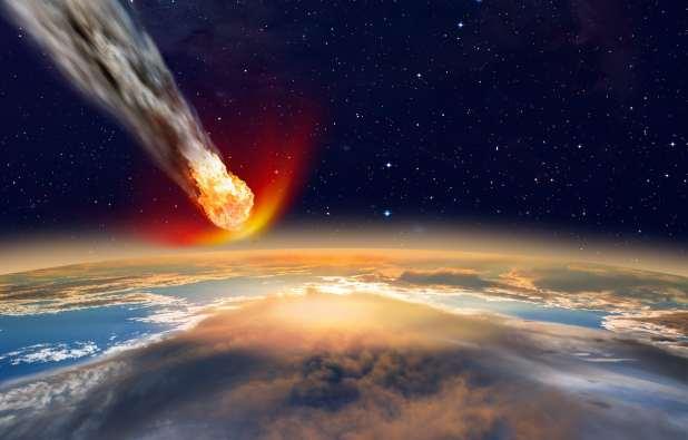 Rendered image of meteorite hitting Earth.