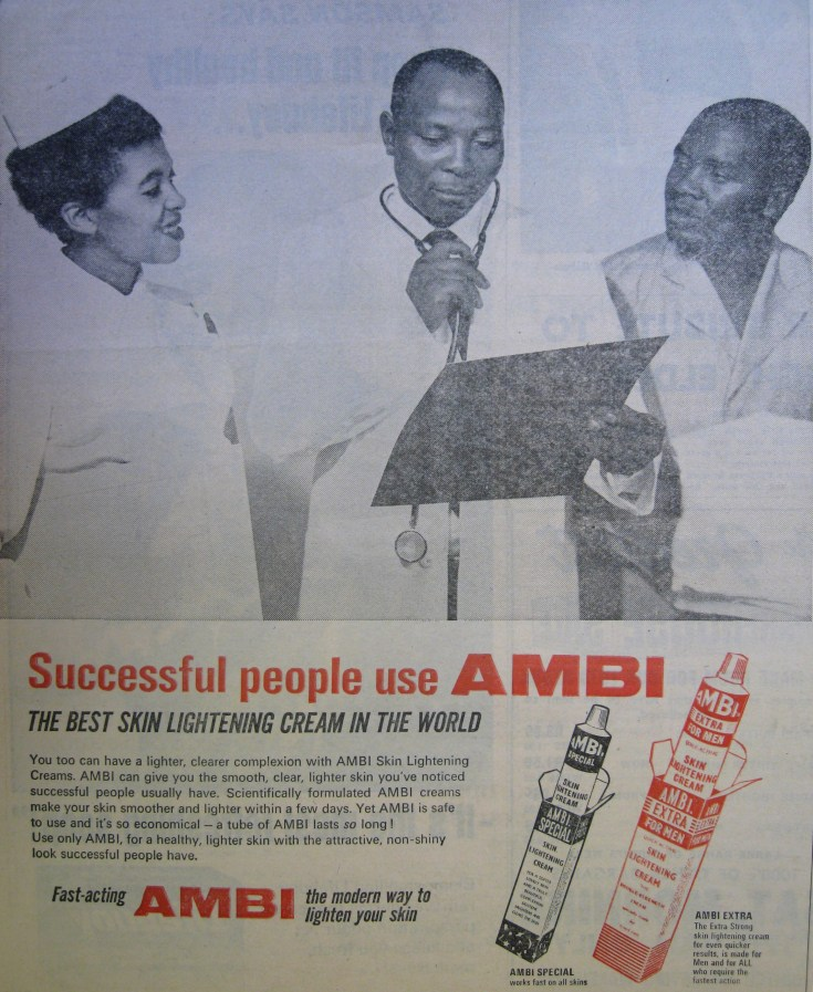 An advert showing a doctor and nurse consulting with a darker-skinned male patient, the doctor holding a clipboard.