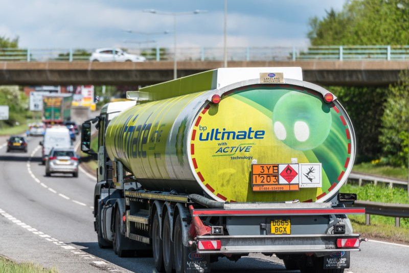 BP lorry driving away