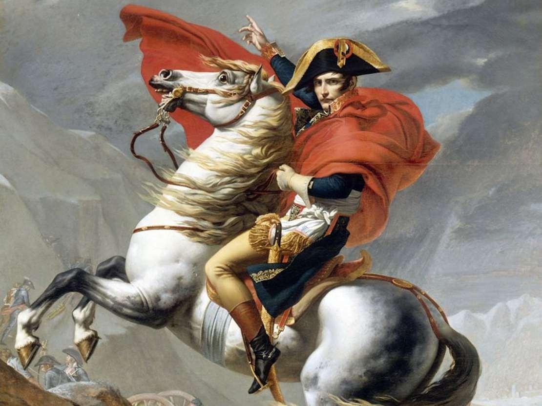 Painting of Napoleon Bonaparte on horseback.