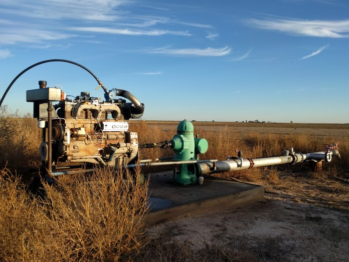 Irrigation pump in field