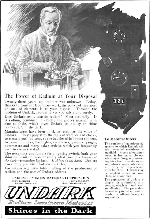 Anuncio de Undark (1921).