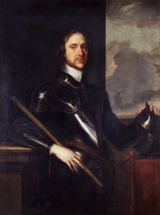 Painting of Oliver Cromwell in armour.