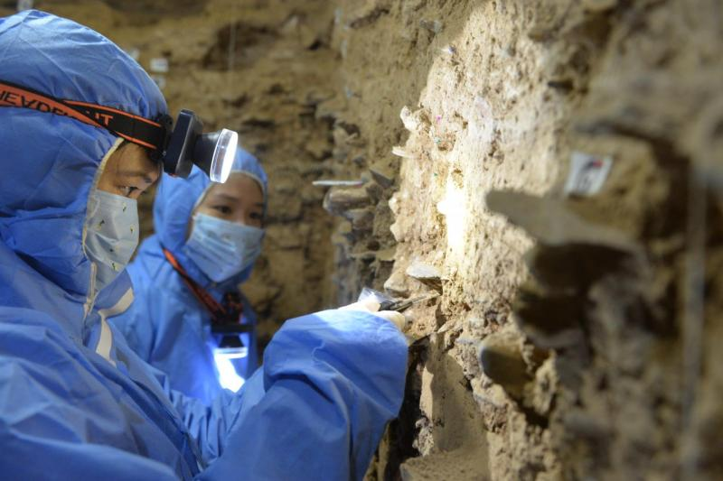 Archaeologists dig in cave walls.