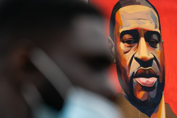 A portrait of George Floyd is seen during a Black Lives Matter protest on June 17, 2020 in the Manhattan borough of New York City.
