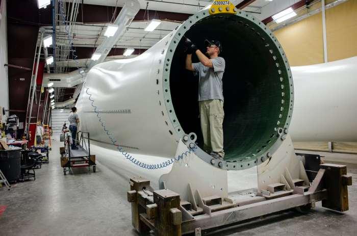 Worker at Iowa wind turbine plant