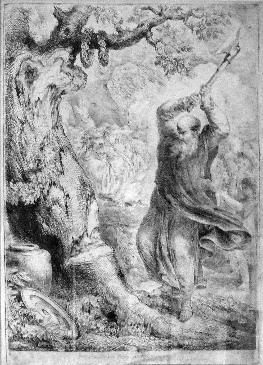 An engraving depicting a bearded man swinging an axe at an oak tree.