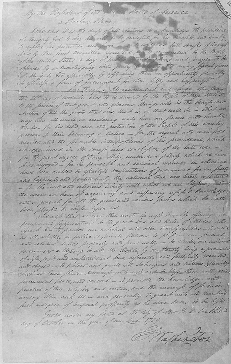 George Washington's October 3, 1789, Thanksgiving Day Proclamation.