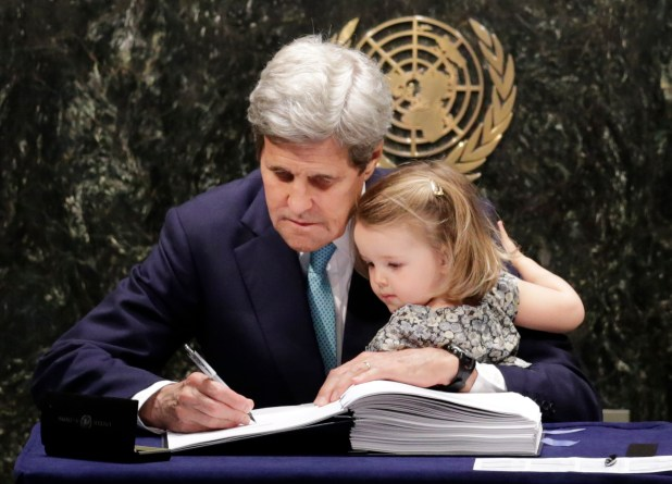 Kerry and his granddaughter at the UN