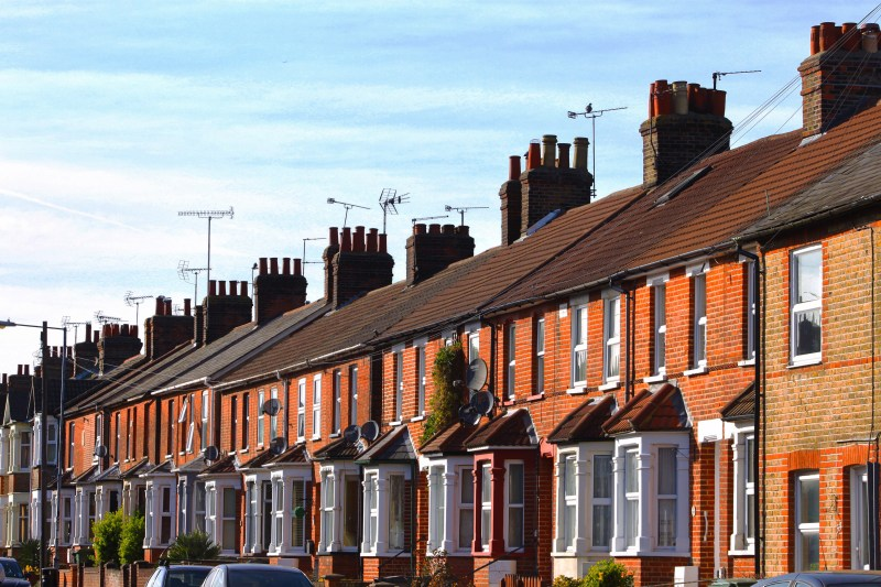 Row of terraced brick houses.
