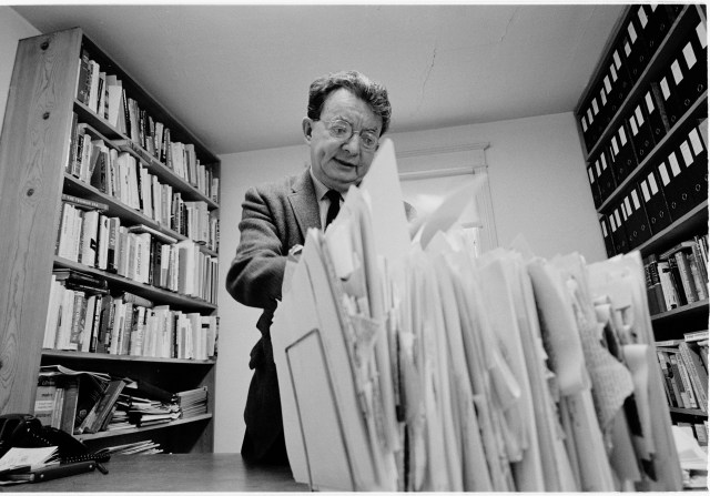 Journalist I.F. Stone in his office, Washington, D.C., in 1966.