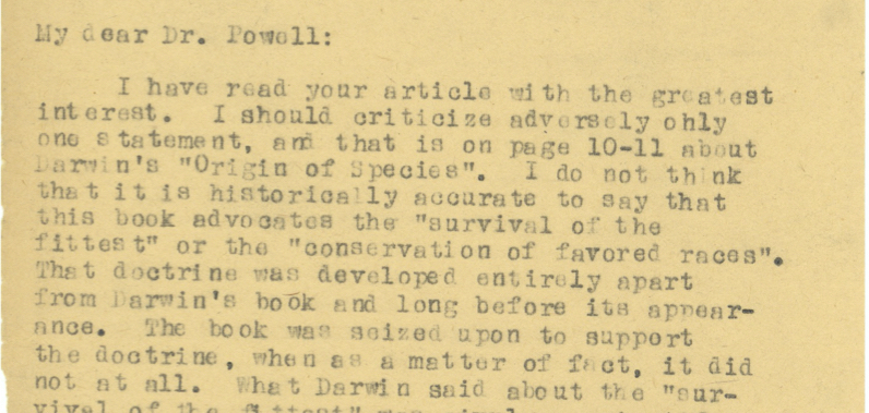 excerpt of typewritten letter on yellowed paper