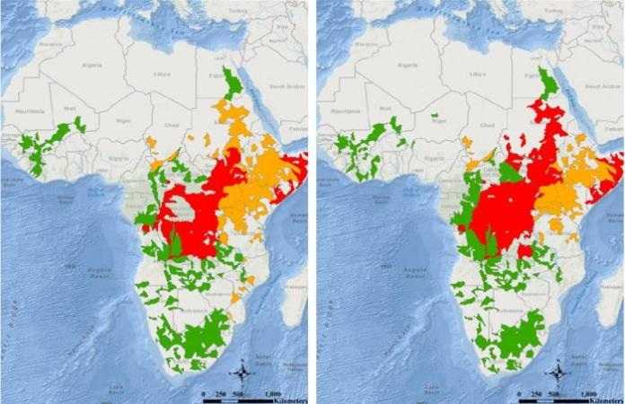 Map showing huge areas of central and east Africa under flood alerts.
