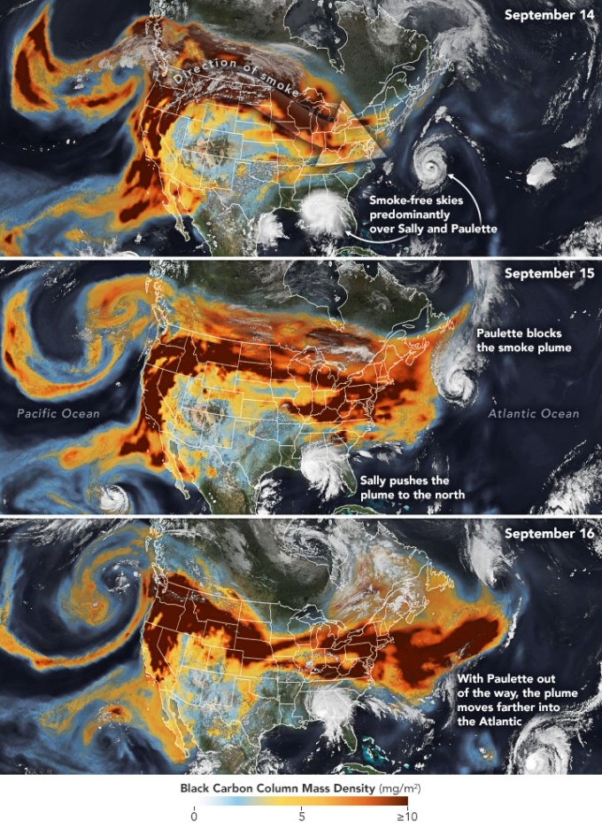 Satellite images of smoke plumes.