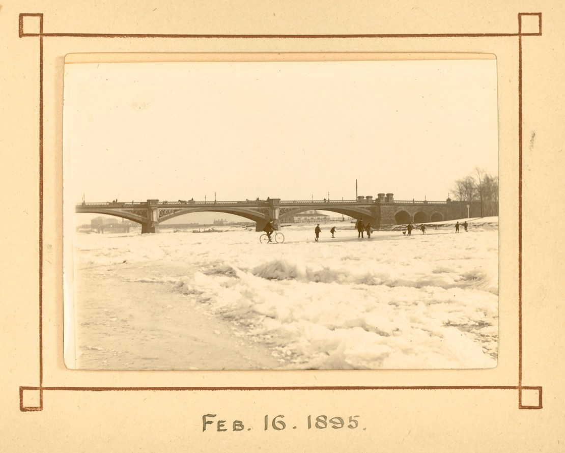 An old photograph of a frozen river, taken on February 16 1895.