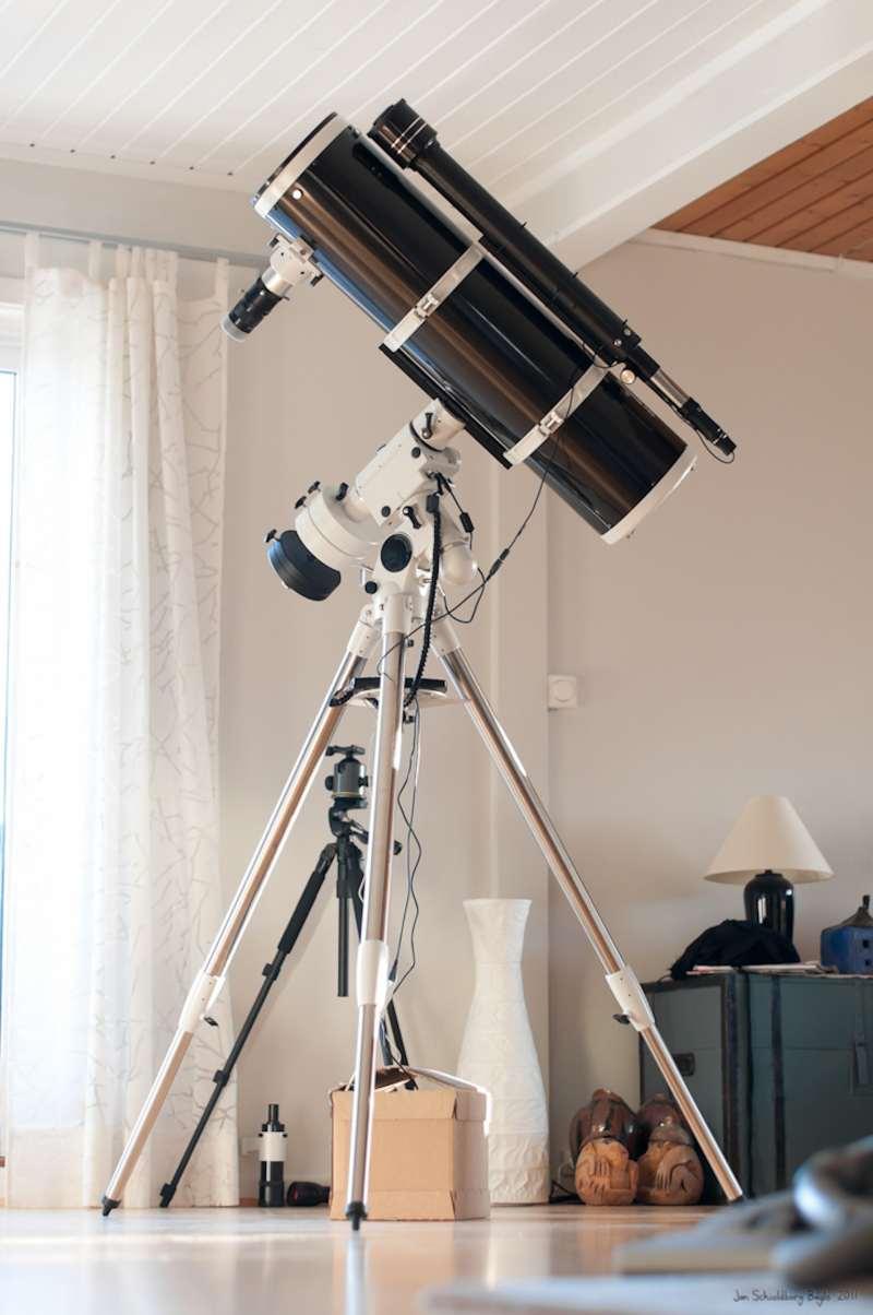 A SkyWatcher f/5 newtonian telescope with an Equatorial GoTo mount.