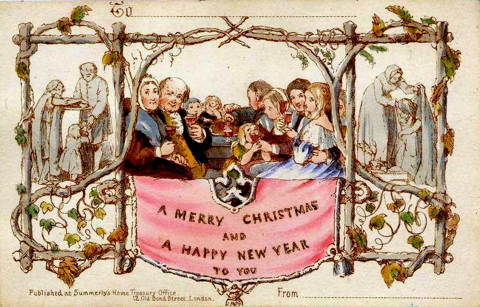 first Christmas card of family in a bountiful feast flanked by people doing acts of charity