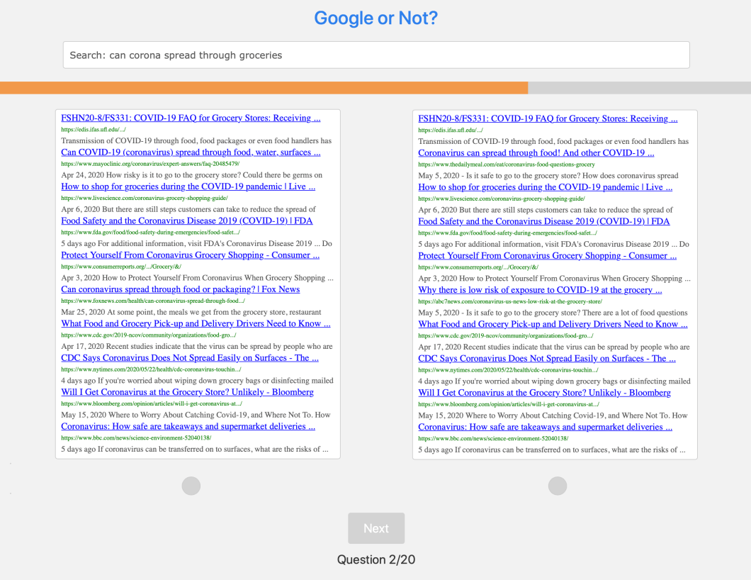 A screenshot showing two sets of Google search results side-by-side