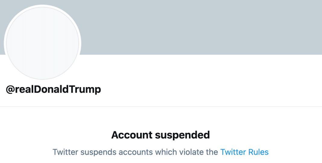 Screenshot of @realDonaldTrump's suspended Twitter account
