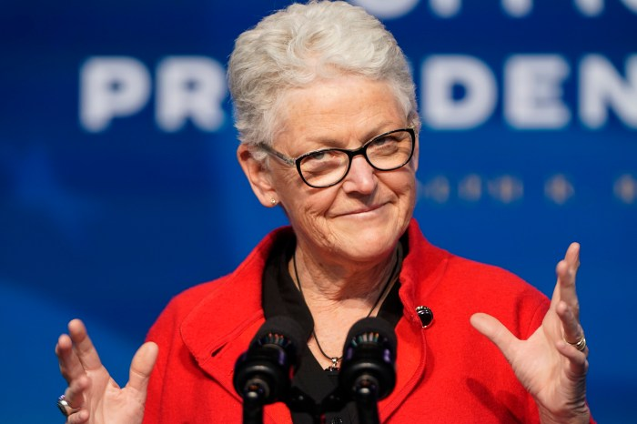 Gina McCarthy at the event where Biden introduced his climate policy leaders.
