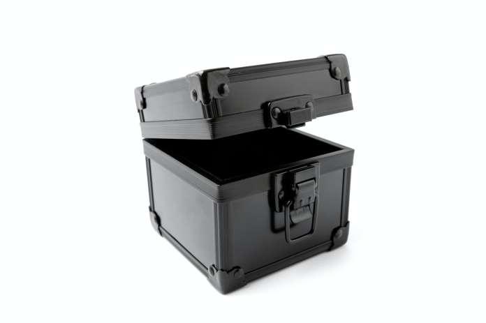 An open black case